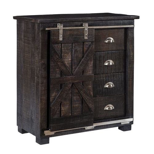 251 First River Station Brown Four Drawer One Sliding Door Cabinet