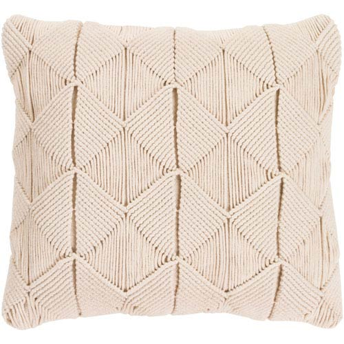 Quinn Cream 18 In. Throw Pillow with Poly Fill