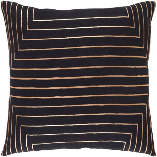 Monroe Black and Champagne 18 In. Throw Pillow