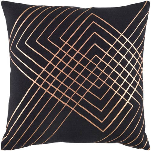 251 First Monroe Black and Champagne 20 In. Throw Pillow