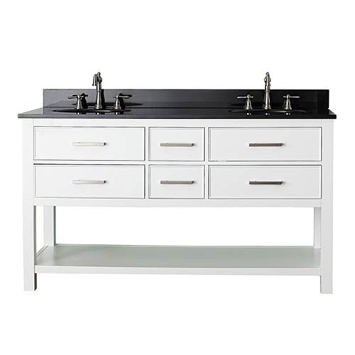 251 First Grace White 60-Inch Vanity Combo with Black Granite Top