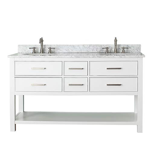 251 First Grace White 60-Inch Vanity Combo with Carrera White Marble Top