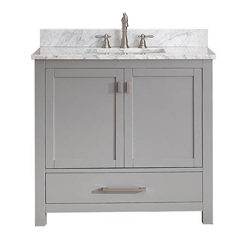 251 First Nicollet Chilled Gray 36-Inch Vanity Combo with White Carrera Marble Top