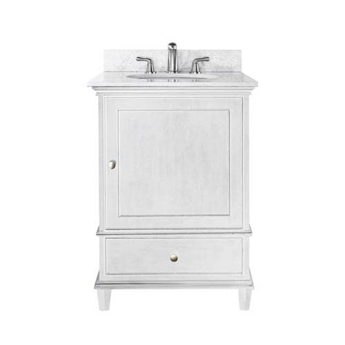 251 First Selby 24-Inch White Vanity with Carrera White Marble top and Undermount Sink