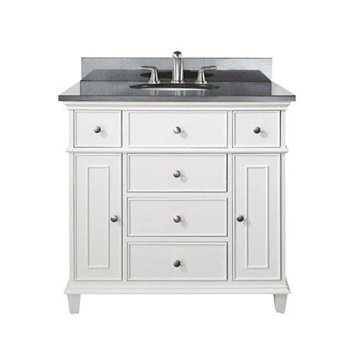 Selby 36 Inch White Vanity With Black Granite Top And Undermount Sink