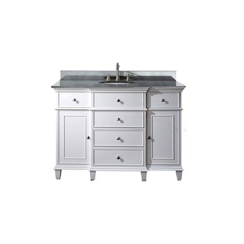 251 First Selby 48 Inch White Vanity With Black Granite Top And Undermount Sink