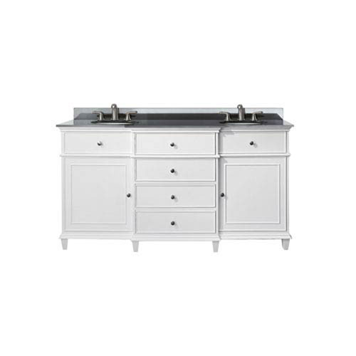 Selby 60-Inch White Vanity with Black Granite top and Dual Undermount Sinks