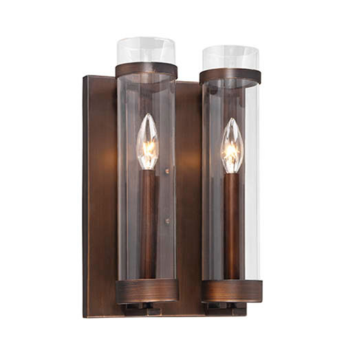 Whittier Rubbed Bronze Two-Light Wall Sconce