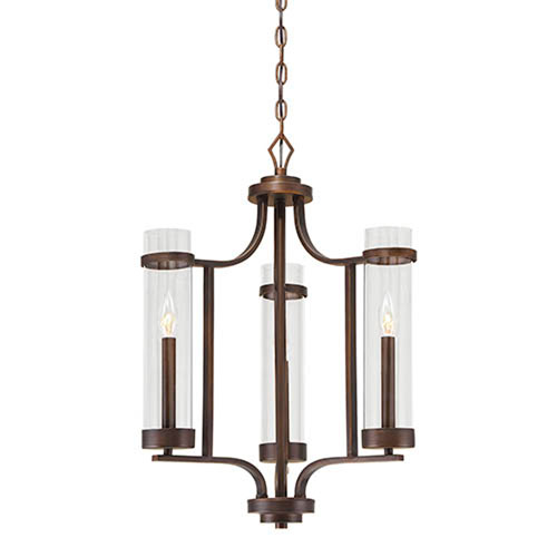 Whittier Rubbed Bronze Three-Light Chandelier