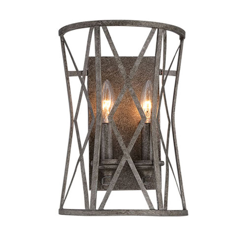 251 First Afton Antique Silver Two-Light Wall Sconce