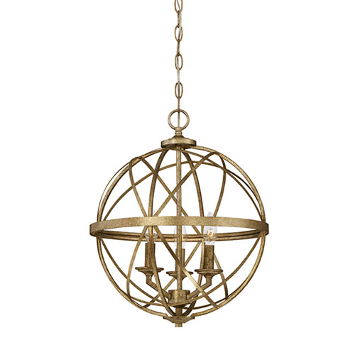 Afton Antique Gold Three-Light Globe Pendant