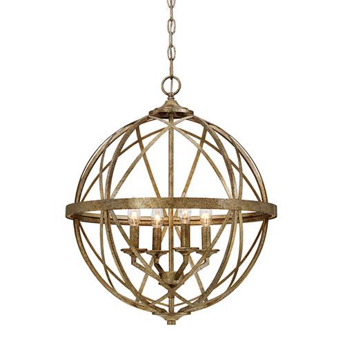 251 First Afton Antique Gold Four-Light Globe Pendant