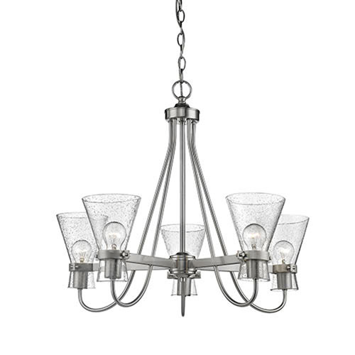 251 First Uptown Brushed Nickel Five-Light Chandelier with Seeded Glass