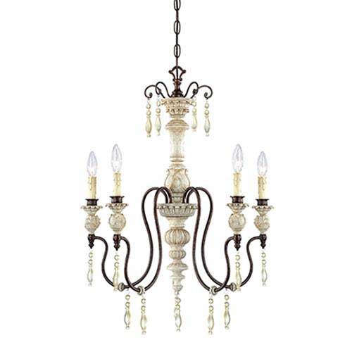 251 First Wellington Antique White and Bronze Five-Light Chandelier - Antique White Chandeliers Bellacor