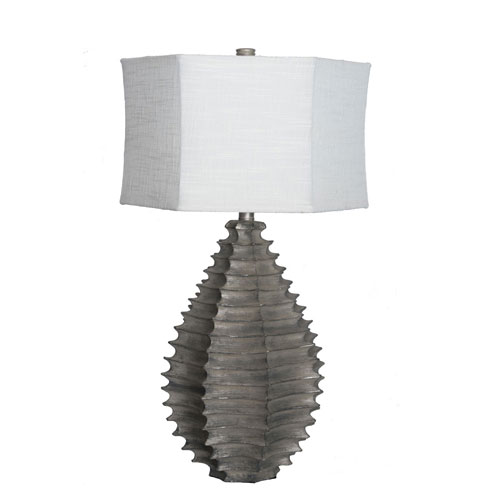 251 First River Station 28 In.H Resin Sculptural Hexagon Table Lamp Silver with Hex Drum Shade