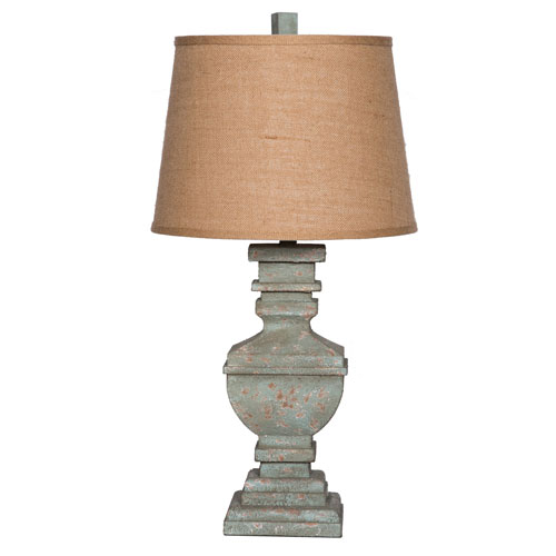 251 First River Station 30 In. Resin Urn Table Lamp Weathered Brown with Drum Shade