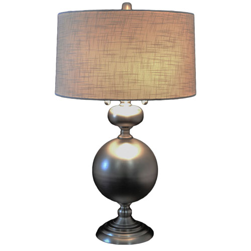 251 First Evelyn 30 5 In Brushed Nickel Table Lamp With Drum Shade And Twin Pulls