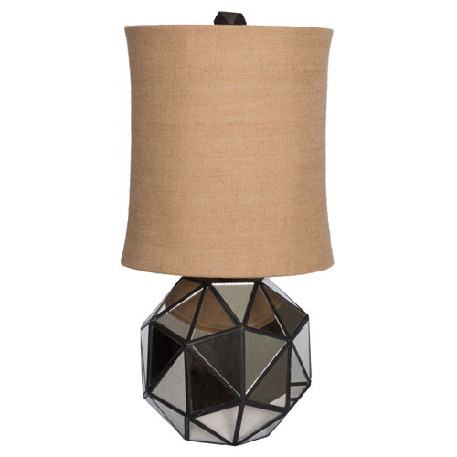 Afton 30 In. Faceted Aged Mirror Table Lamp Bronze with Drum Shade