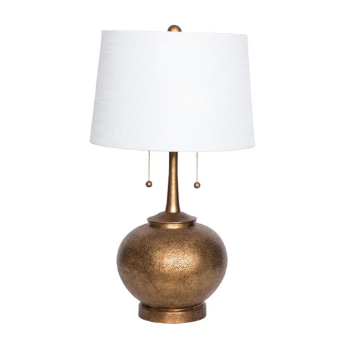 Selby 29 In. Hammered Resin Table Lamp Gold Twin Pulls with USB Port and Drum Shade