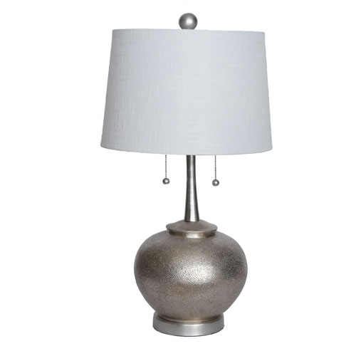 251 First Selby 29 In. Hammered Resin Table Lamp Silver Twin Pulls with USB Port and Drum Shade