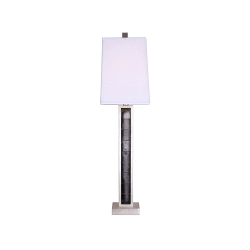 251 First Wellington Gray Table Lamp with White Shade