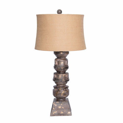 251 First River Station 34.5 In. Resin Balustrade Table Lamp Antique Bronze with Drum Shade