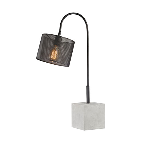Afton Polished Concrete and Black One-Light Table Lamp