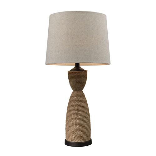 Afton Dark Brown Rattan LED Table Lamp