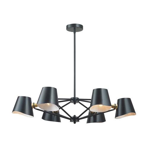 251 First Nicollet Matte Black And Gold Six Light Chandelier