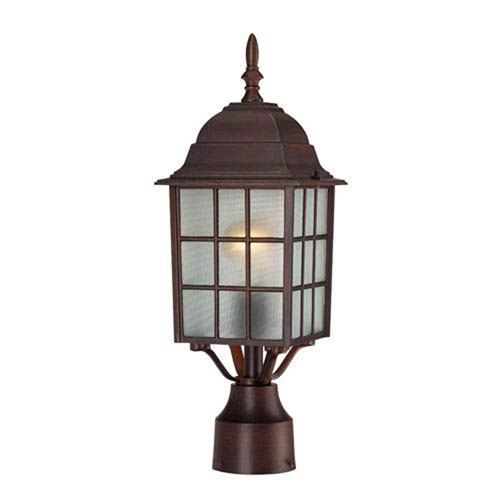 251 First Hayden Rustic Bronze One-Light Outdoor Post Mount with Frosted Glass