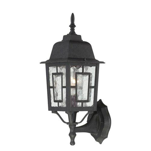251 First Hayden Textured Black 17-Inch One-Light Outdoor Wall Sconce with Water Glass