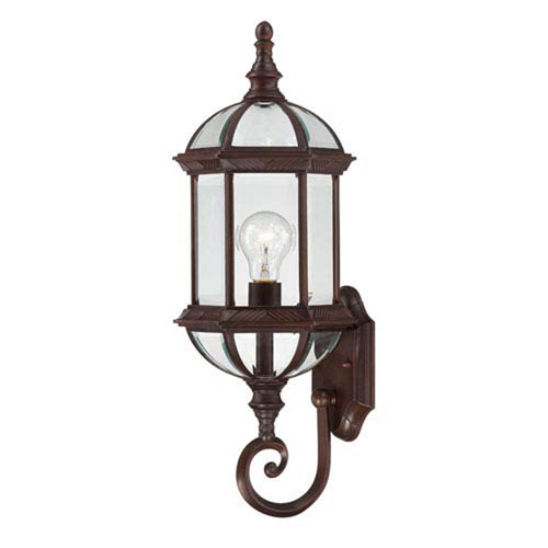 251 First Webster Rustic Bronze 22-Inch One-Light Outdoor Wall Sconce with Beveled Glass