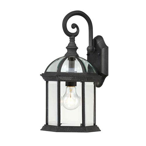 251 First Webster Textured Black 16-Inch One-Light Outdoor Wall Sconce with Beveled Glass