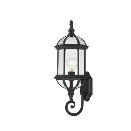 251 First Webster Textured Black 22-Inch One-Light Outdoor Wall Sconce with Beveled Glass