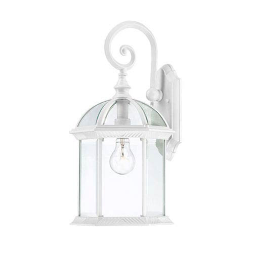 251 First Webster White 16-Inch One-Light Outdoor Wall Sconce with Beveled Glass