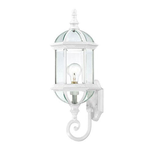 251 First Webster White 22-Inch One-Light Outdoor Wall Sconce with Beveled Glass