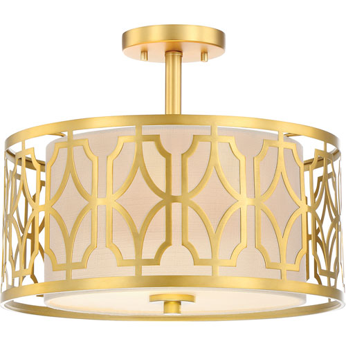 Whittier Natural Brass 15-Inch Two-Light Semi Flush Mount