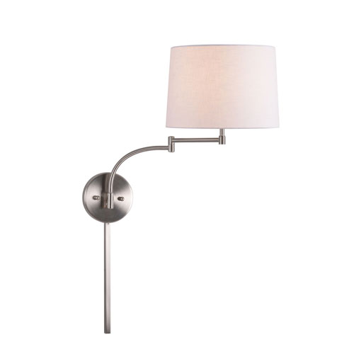 251 First Kenwood Brushed Steel One-Light Swing Arm Wall Sconce