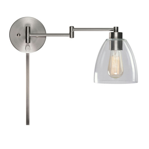 Kenwood Brushed Steel One-Light Swing Arm Wall Sconce with Clear Glass