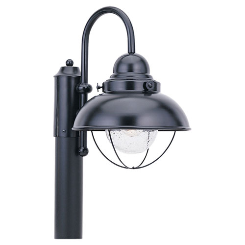 River Station Black One-Light Outdoor Post Mount