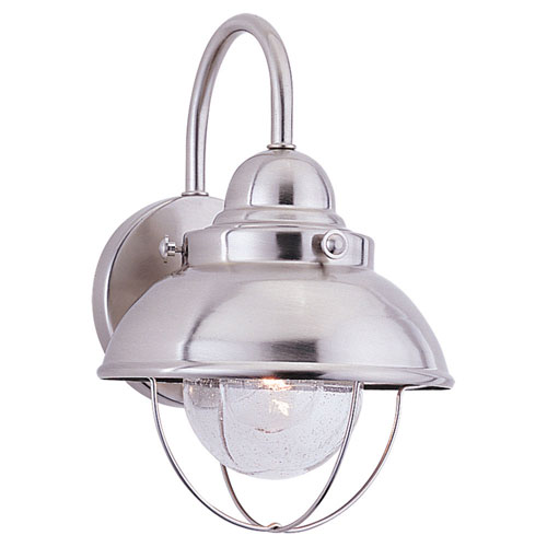 251 First River Station Brushed Stainless 11-Inch One-Light Outdoor Wall Sconce