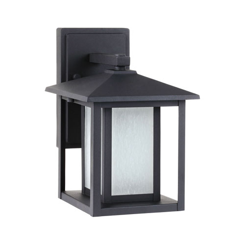 251 First Uptown Black 11-Inch One-Light Outdoor Wall Sconce with Etched Glass