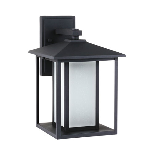 251 First Uptown Black 14-Inch One-Light Outdoor Wall Sconce with Etched Glass
