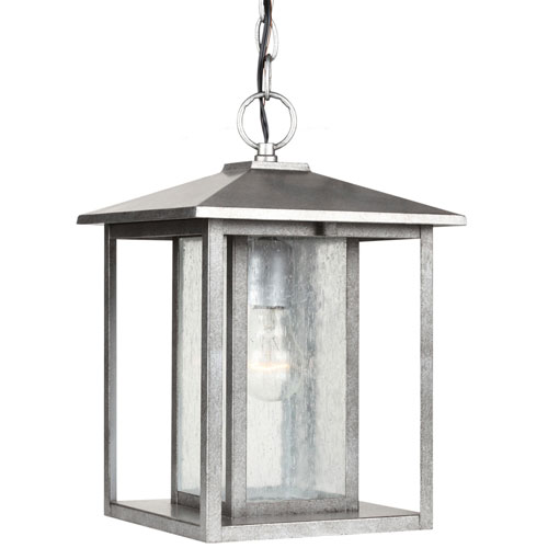 251 First Uptown Pewter Nine-Inch One-Light Outdoor Pendant with Seeded Glass