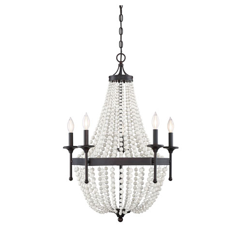 251 First Grace Oil Rubbed Bronze Five-Light Chandelier with Wood Beads