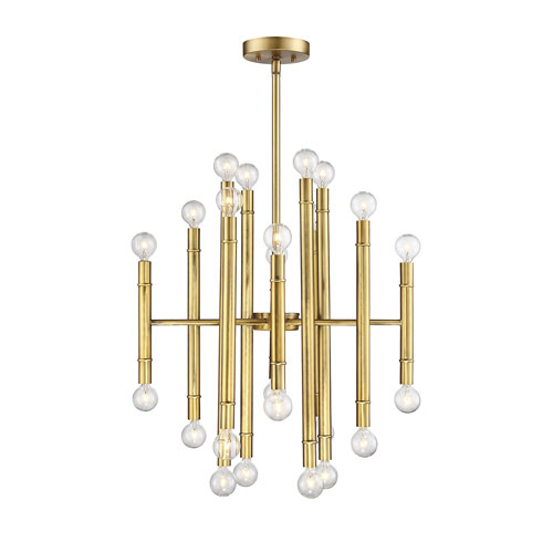 Nicollet Natural Brass 24-Light Chandelier