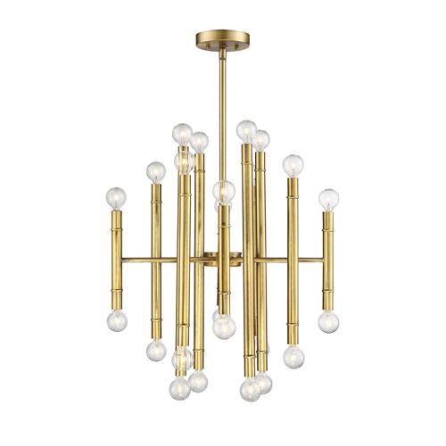Nicollet Natural Brass 24-Light Chandelier