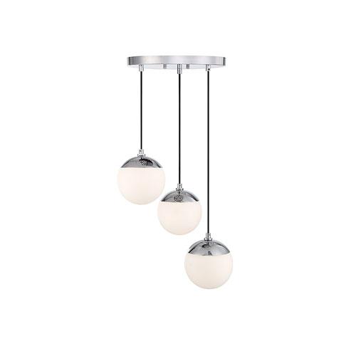 Nicollet Chrome Three-Light Pendant with White Opal Glass