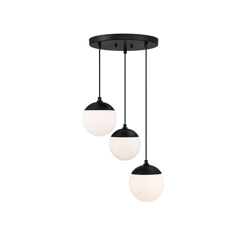 Nicollet Matte Black Three-Light Pendant with White Opal Glass