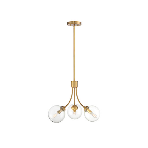 Nicollet Natural Brass 18-Inch Three-Light Chandelier